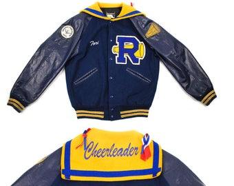 Letterman Cheer Jacket Mens Small, Sailor Collar Varsity Jacket, Chenille Letter Patch, 90s Cheerleader Jacket, Vintage Letterman Coat
