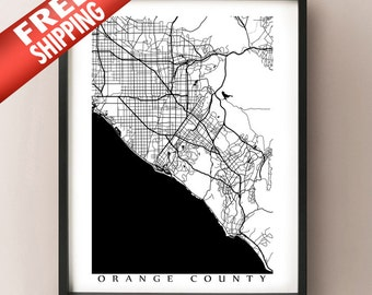 Orange County Map Art Poster Print - Black and White - Anaheim, Huntington Beach, Santa Ana