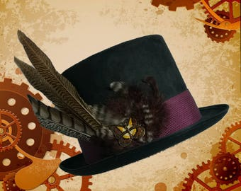 Steampunk Black Top Hat with Butterfly