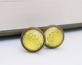 Honeycomb Small Bronze Cufflinks Natural History Honey Bee Wedding Groom Groomsmen