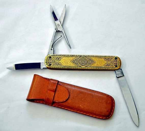 Vintage 1950s WARA FOLDING KNIFE w/Case, Solingen, Germany, Stainless Steel, Brass Guilt, Arnold Hughes Co. Detroit–W O.1-1894 Exc Condition