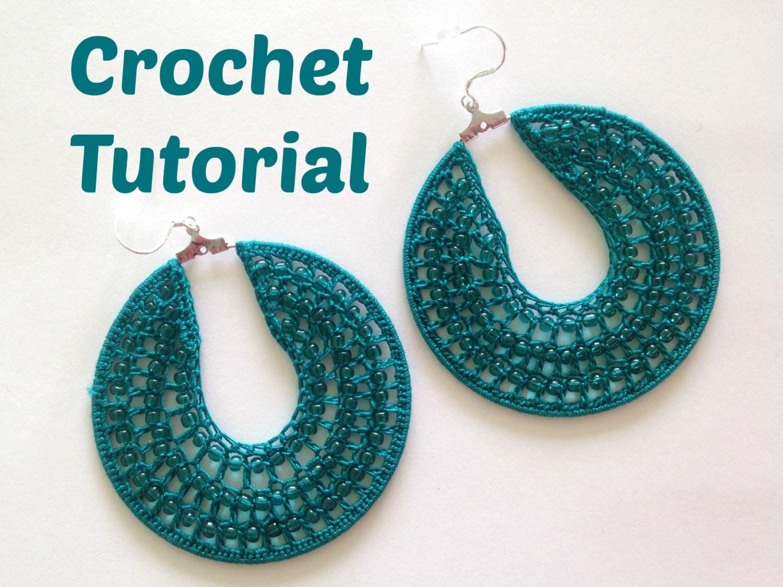 Crochet Pattern Beaded Hoop Earrings, Jewelry Tutorial, PDF Pattern ...