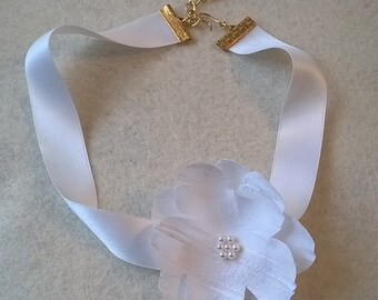 White 100% Silk Choker - Genuine Silk Ribbon with Handcrafted Silk Flower - Bridal, Bridesmaid, Wedding, Prom, Pageant Choker Necklace