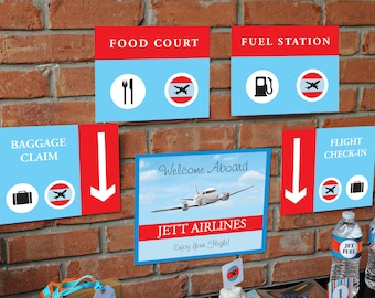 Airplane Party Signs - Instant Download Airplane Birthday Party Signs by Printable Studio
