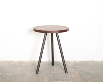 Indy Side Table - Solid Black Walnut Top with Steel tripod Base