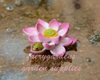 miniature fairy garden pink lotus flower with sleeping baby frog garden accessory