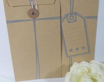 Set of two American envelopes kraft tag
