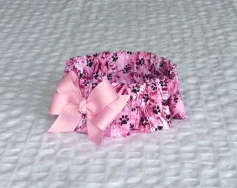 "Ruffle Dog Collar, Pet Bandana - Paws on Pink Tie Dye Dog Scrunchie Collar with pink bow - Size M: 14"" to 16"" neck"
