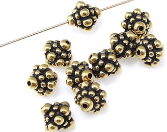 Gold Beads - 8mm Antique Gold Bali Beads - TierraCast PAMADA BEADS - Metal Beads for Jewlery Making  (PS120)