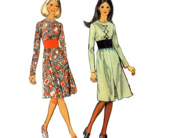 70s Midriff Band Dress pattern Hourglass Dress pattern vintage  36-27-38 Fit and Flare Dress pattern Obi Dress pattern Simplicity 9255
