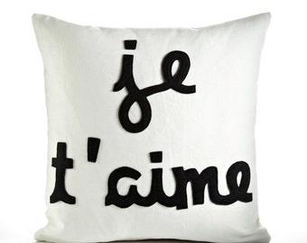 "Decorative Pillow, Throw Pillow, ""Je T'aime"" Pillow, 16 inch"