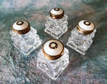 Vintage Mid Century Hroar Prydz of Norway Cut Crystal Sterling White Guilloche Enamel Cap Mini Salt and Pepper Shakers Set of Four
