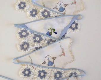 Handmade doily bunting, blue and white, mantle or room decoration, garland, eco friendly