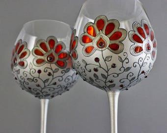 Wine goblets, Gothic Wedding glasses, Gothic Glasses,Hand painted glasses,Wine glasses, Gothic goblets, Gothic gift