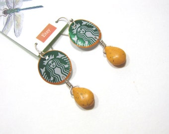 Starbucks Mermaid Earrings Recycled Metal Upcycled Aluminum Can Coffee Lover Gift
