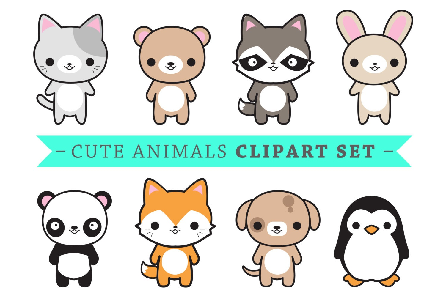 premium vector clipart cute animals kawaii animals cute rh etsy com cute animals clipart pinterest cute animals clipart black and white