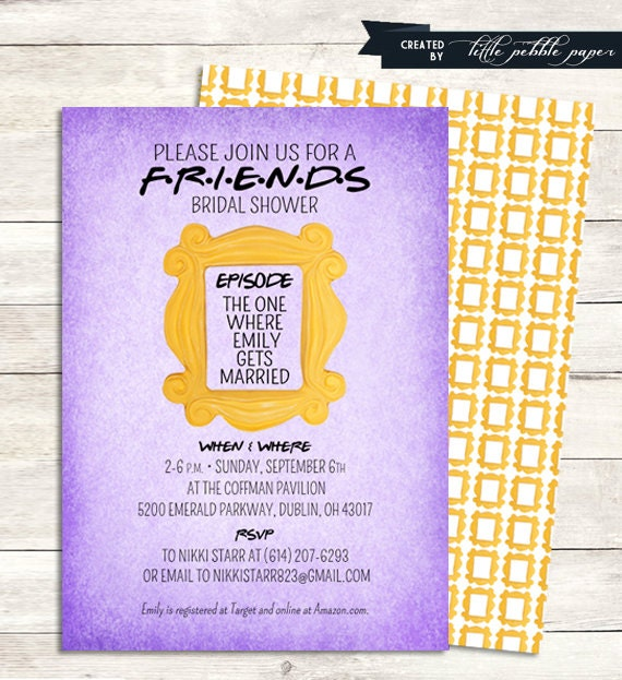 Friends tv show shower invitation bridal shower birthday filmwisefo