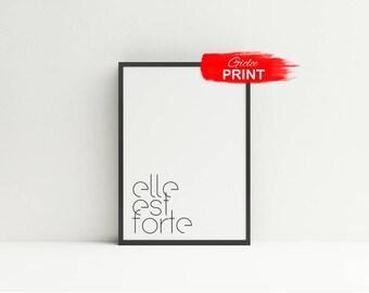 Elle Est Forte Print, Proverbs 31:5 Poster, She is Strong Christian Art