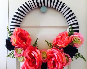 Stripe and Flowers Wreath