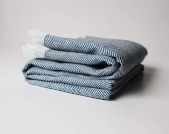 Blue Softened Linen Throw, Linen Throw Blanket, Herringbone Throw, Navy Blue Throw Blanket, Soft Linen Throws and Blankets