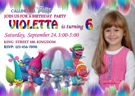 Trolls invitation birthday party invitation card stopboris Gallery