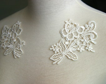 Pair of Ivory Lace Appliques, Lace Appliques, Custom Design, Couture Design, Dressmaking, Crafting, etc, AP-038