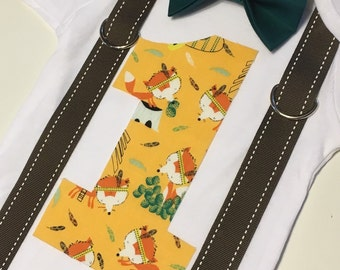 Woodland fox first birthday onesie with suspenders and bow tie