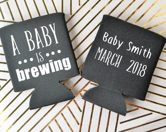 A Baby Is Brewing Can Cooler- Baby Shower Party Favor- Baby Shower- Gender Reveal- Baby Can Cooler- Boy or Girl