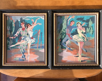 1950s Framed Ballerina Paint By Number PBN Colorful Harlequin Atomic Dancer Mid Century Painting