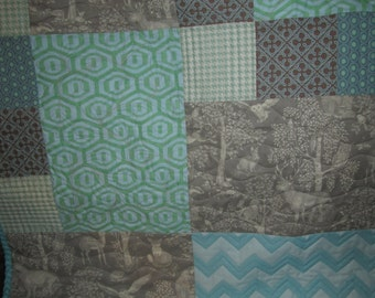 WOODLAND ANIMALS Gender Neutral Handmade Baby Quilt Teal and Warm Gray Colors Baby Bedding Gender Neutral Nursery Decor Woodland Animals