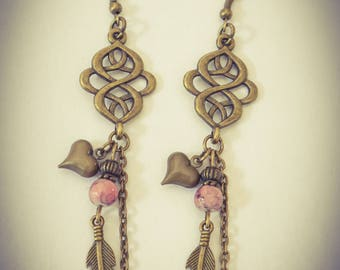 Celtic earrings bronze and pink