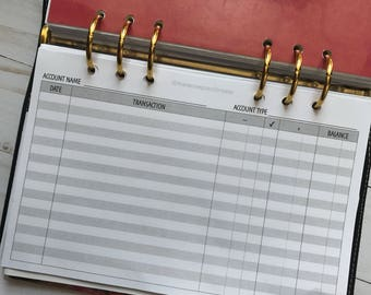 Checking Bank Account Register Horizontal | Printed Planner Inserts | Half Letter Size for A5 Planners