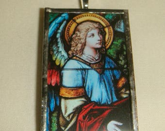 Stained Glass Angel Pendant Victorian Look inv1977