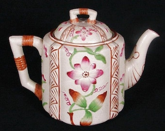 Antique Brownhills Pottery Enamel Stoneware Teapot, 1920s English Aesthetic Movement, British Staffordshire