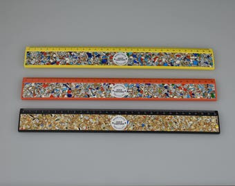 Recycled Rulers - Made from Juice Carton and Bobbins - Yellow/Orange/Black - Cool Gift Ideas - Craft Gifts - Teacher Gifts