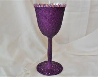 Glitter and Diamante Wine Glass