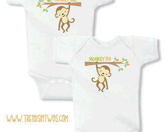 Monkey See & Monkey Do Set for Twins on Your Choice of Size and Style