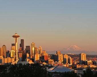Seattle skyline with Mt. rainier photograph 8 x 10