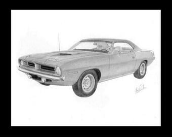 car art pencil drawing of a 1970 Barracuda