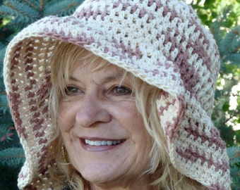 Crocheted Floppy Hat with a Brim. Brown and White Summer Hat. Handmade Original.