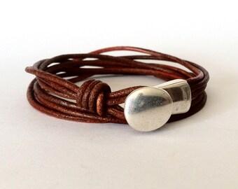 Wrap bracelet,  button clasp bracelet, leather bracelet for men,  leather bracelet, women bracelet, silver brown bracelet, Hook clasp