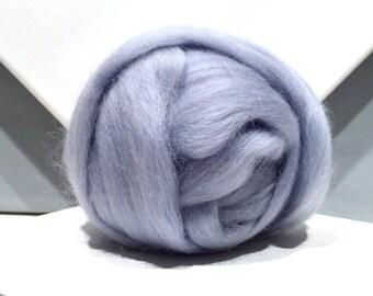 Silver Blue Merino wool roving, Needle Felting, Spinning Fiber, blue silver wool roving, pale blue grey, light slate blue, Saori weaving