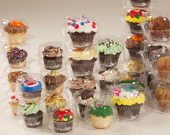 Clear Single Cupcake Container Box 24 or 45 count