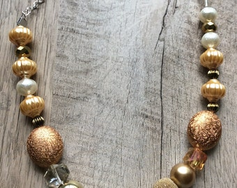 Golden necklace,Gold beaded necklace,handmade gift for her,handmade jewelry,necklace,personalized gift,statement necklace,jewelry for her