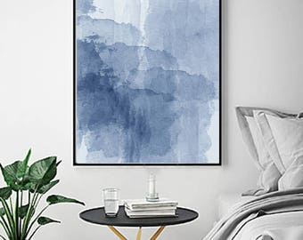 Blue Watercolor Abstract Painting Minimalist Art Indigo Blue Navy Wall art Large Abstract Print Modern Contemporary Minimal Scandinavian