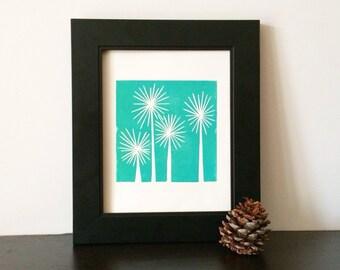 Modern Teal Trees Mid Century Art linocut print 8 x 10 printmaking retro modern art