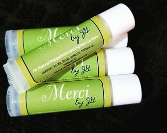 All Natural Peppermint Lemongrass Lip Balm ~ Merci by JG