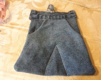 upcycled blue jeans, denim skirt hotpad; potholder, with blue jean waistband and  repurposed belt loops