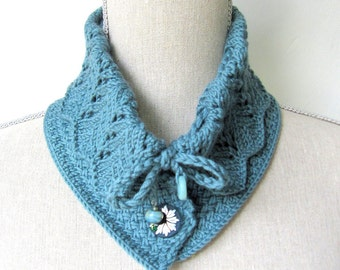 SALE - Women Wool Knit Collar Scarf  - Victoria Collar Scarf - Teal - Size Med/Lrg