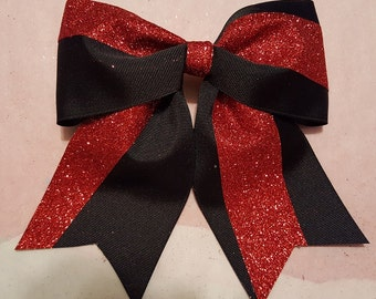 Black and Red Glitter Hairbow